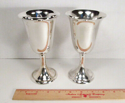 """Two Vintage Alvin USA # S249 Sterling Silver Water Wine Goblets Stemware 6-5/8"""""""