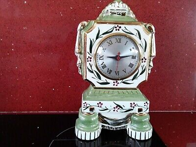 Vintage  Hand Painted  Porcelain Pottery Mantel Clock Sessions Movement Usa