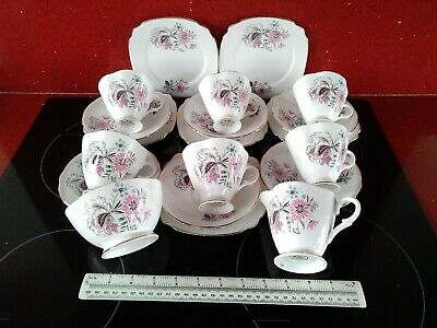 Vintage Windsor Bone China Tea Set 20 piece Floral pink & grey afternoon tea vgc