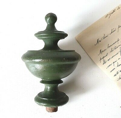 Antique French turned wood post finial end cap Salvaged furniture topper 4.53""
