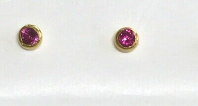 Gilrs 9ct Gold 3mm Flat Red RUBY Crystal Bend Wire Nose Stud PIN B/'day X/'MasGIFT