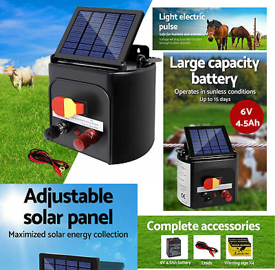 Giantz 3km Solar Electric Fence Charger Energiser Maximise Power Conversion New