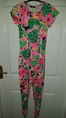 Girls Asda George pink tropical patterned jumpsuit. Age 10-11