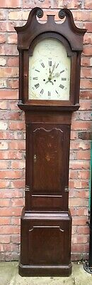 Antique 8 Day Oak & Mahogany Longcase Grandfather Clock Samuel Raven LONDON