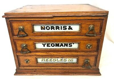 Antique Oak Shop Display / Haberdashers Cabinet MORRIS & YEOMANS' NEEDLES & Co