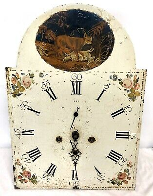 Antique 8 DAY Longcase Grandfather Clock Dial & Movement : FOX to Arch