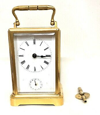 Antique Brass Parcel Gilt Carriage Clock with Alarm circa 1860