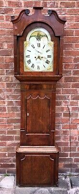 Antique Oak Mahogany ROLLING MOON Longcase Grandfather Clock DAVIES CHESTER