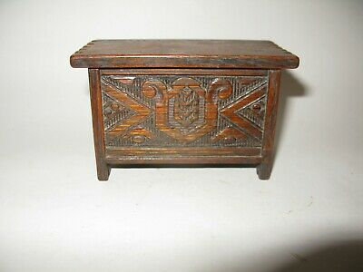 A Charming Small Oak Trinket Box In The Form Of A Coffer