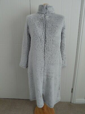 Ladies M&S Marks and Spencer Full Zip Grey Faux Fur Dressing Gown Robe Size 6-8