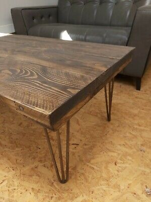 Reclaimed Timber Solid Wood Character Coffee Table & Hairpin Legs Colour Choice