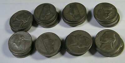 Lot of 40 Silver Jefferson Wartime Nickels 1943-44   35%   Silver Most are 1943S