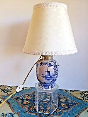 Antique Porceleyne Fles DELFT OIL LAMP