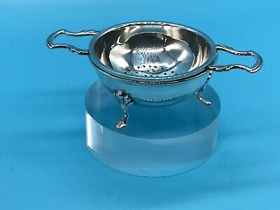Solid Silver Tea Strainer And Bowl Hallmarked For Birmingham 1954/55