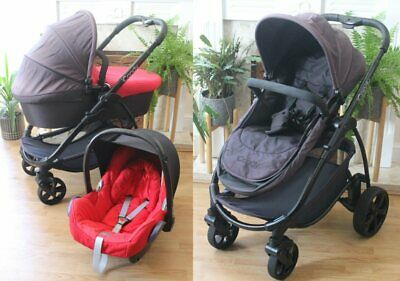 Icandy Strawberry Black / Red Travel System 3 In 1 Maxi Cosi Car Seat