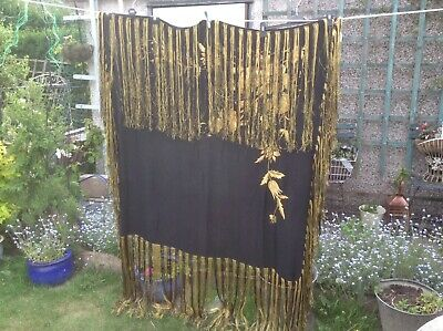 Vintage Very Heavy Embroidery Piano Shawl Long Fringe Black And Gold Colour