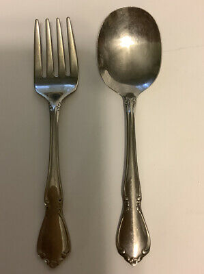 Baby Fork and Spoon Set, Oneidacraft, Stainless, England