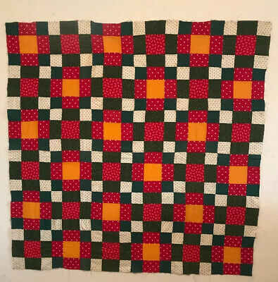 """Antique Quilt Top, Lots Of Cheddar, Red Polkadot and Green Hand Pieced 45"""" X 45"""""""
