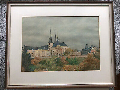 LUXEMBURG Kathedrale Original Aquarell H.Stachow 1975