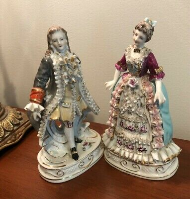Early Antique Meissen?German Victorian Porcelain Figurines 8""