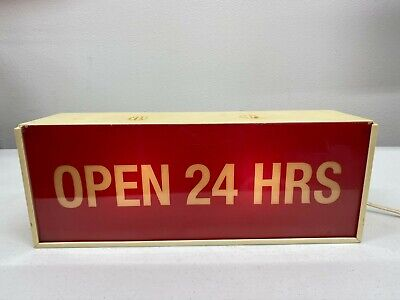 Vintage Plastic Lighted OPEN Sign - Open 24 Hrs - Vacancy - No Vacancy - Works