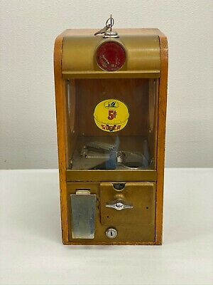 Vintage Wood Super V Victor Toy Dispenser Vending Machine 5 Cent