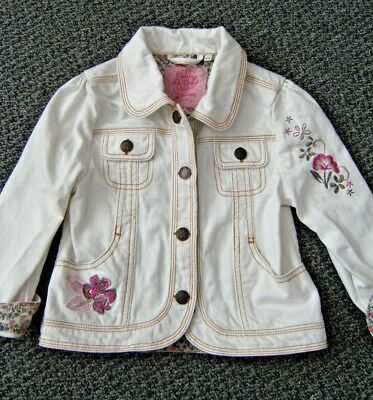"""Girls white denim jacket! Gorgeous embroidery appox 3 years size, 22"""" chest"""