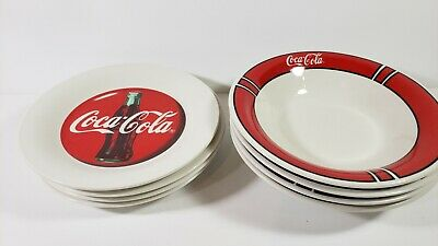 """Vintage LOT 8 COCA-COLA Plates Red Block Pattern 1996 Gibson Coke 8"""" Excel Cond"""