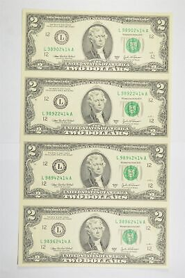 Rare** UNCUT SHEET 2003-A $2 Fed Res Notes Choice Unc Never Cut by Treasury *818
