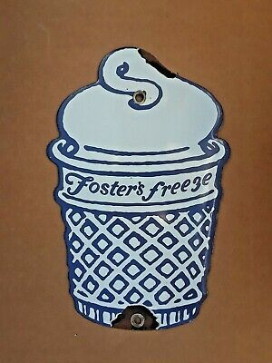 Old Original Rare Foster's Freeze Ice Cream Sign- 1950s vintage-Porcelain coated