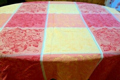 Vintage Tablecloth Floral Fruit Jacquard