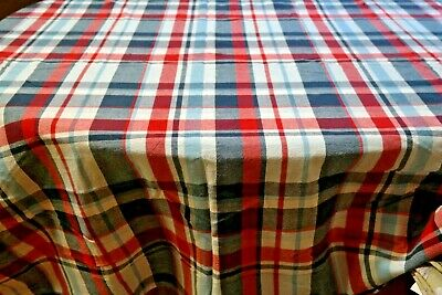 Vintage Tablecloth Americana Red White Blue Plaid