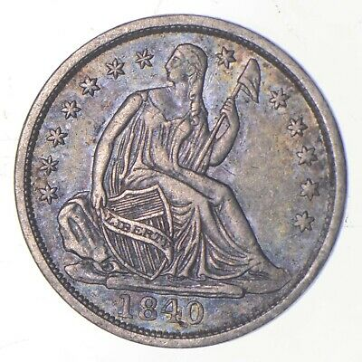 5c **1/2 Dime HALF** 1840 Seated Liberty Half Dime Early American Type Coin *233