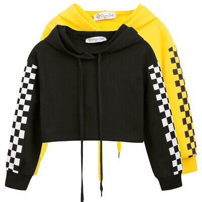 Black Coat Fixed hood Not elastic Kids Girls Cropped Hoodies Polyester Yellow