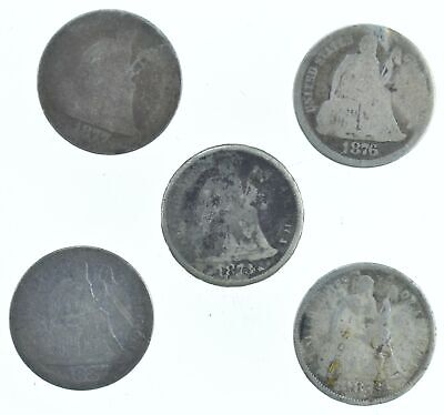 1877 1876 1873 1887 1873 Lot 5 Seated Liberty Dimes Collection *161
