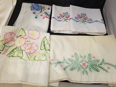 5 Vintage Hand Embroidered Pieces 1 Cotton Table Scarf 4 Pillow Cases Cot/Linen