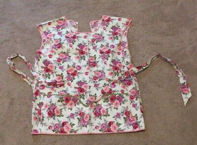 Vintage Pink Floral Bib Apron with waist ties and pockets