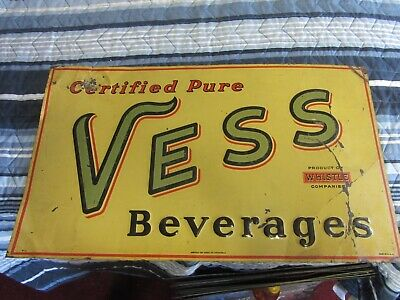"Very Rare Original 1930's-1940's Vess "" Whistle "" Soda Tin Embossed Sign VTG OLD"
