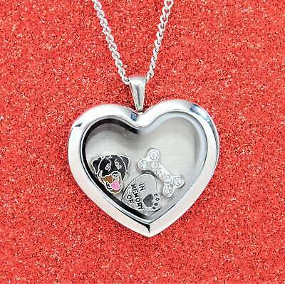 Rottweiler Heart Memory Locket Necklace, Dog Keepsake Jewelry, Rottie Pendant