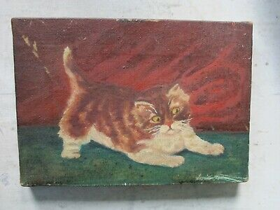Small Antique Primitive Folk Art Fabulous Frisky Cat Kitten O/C Painting - Aafa