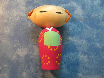 """JAPANESE UNIQUE WOODEN CUTE GIRL KOKESHI DOLL  4"""" Tall SIGNED"""