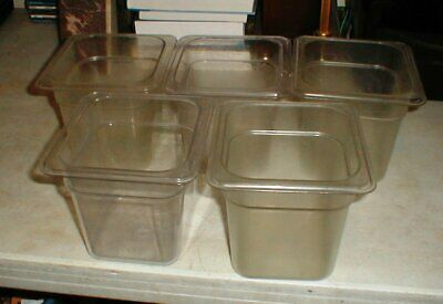 """Lot-5 CAMBRO Restaurant Food Storage Salad Bar Containers 1/6 Clear 6""""-Tall"""