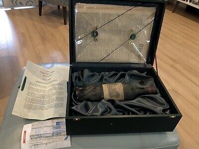 Vintage 1926 Chateau Lafite Rothschild Wine Bottle +Case +London Times +Receipt