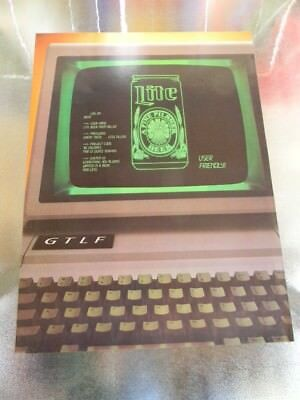 Rare Vintage 1980'S Miller Lite Beer Computer Gtlf Screen Poster Milwaukee Wi.