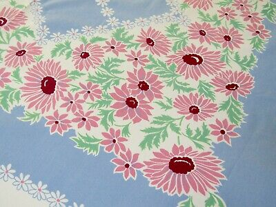 "Vintage Tablecloth Pink Daisies on Periwinkle Blue 52"" x 60"""
