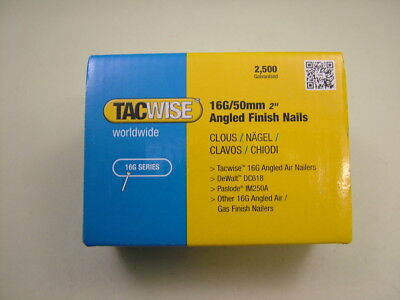 2nd fix collated angled brad nails Tacwise brand 16 gauge 50mm box of 2500