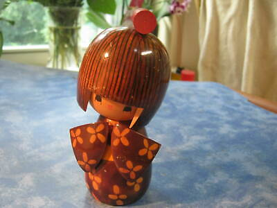 """JAPANESE WOODEN TRADITIONAL GIRL KOKESHI DOLL  5.5"""" Tall SIGNED BY ARTIST"""