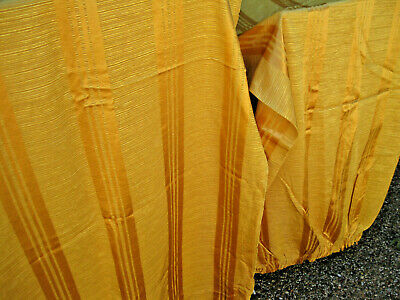 "Pair Vintage 70's Curtains from England Gold Regency Stripe Brocade 68"" Wx 82"" L"