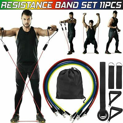 11 Resistance Band Set Yoga Pilates Exercise Fitness Tube Workout Bands ABS