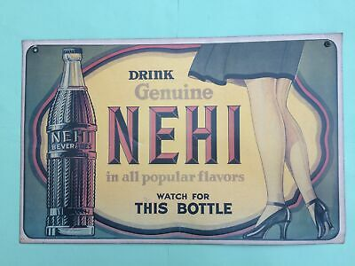 "1930s LARGE CARDBOARD HANG-UP ADVERTISING SIGN, SAYING ""DRINK GENUINE NEHI"""